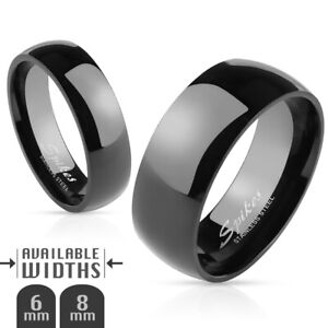 Mens Black STAINLESS STEEL Ring Band Polished Smooth Wedding UK SELLER Couple