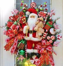 SANTA~TEDDY BEAR~LIST~BELIEVE~TRAINS~PRESENTS~CHRISTMAS WINTER DOOR WREATH