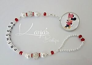 *Minnie Mouse* Bling Red White Shamballa Romany Dummy Clip Girl *Any Name*