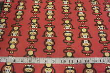 See Speak Hear No Evil MONKEY Allover Red Cotton Flannel Fabric BTY