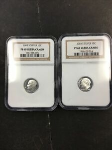 (2) NGC 2003 S PF 69 Silver Ultra Cameo Dime NO RESERVE!! FASCINATING!