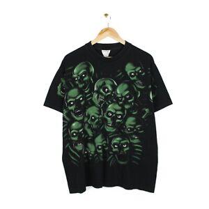 Skulls Vintage 90s All Over Print Black Crew Neck Single Stitch T Shirt - XL