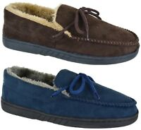 MENS SLIPPERS WINTER GENTS MOCCASIN FLAT BROWN NAVY WINTER WARM SIZE UK 7-12