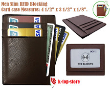 Mens Genuine Leather RFID Blocking Money Clip Pocket Wallet Front Card ID Holder