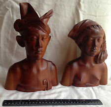 "Pacific Islander Pair Hand-Carved Busts Man Woman Couple Hard Wood 12"" Tall"