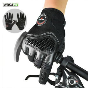 Mens Cycling Gloves Full Finger Touch Screen Shockproof Anti-Slip MTB Bike Mitts