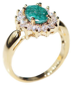 1.45ct Genuine PRECIOUS EMERALD Ring With Brilliant Round Simulated Diamonds.