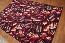 5' x 7' Contemporary Card Game Kids Fun Area rug AOR7412 - 5x7 Burgundy