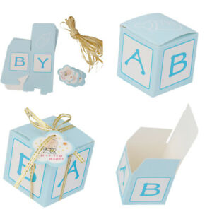 12 CUTE LASER CUT CANDY SWEET GIFT BAGS BABY SHOWER PARTY FAVOURS BOXES BLUE