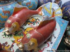 China Bronze Copper FengShui Cloisonne Carved Carp Fish peony flower Statue Pair