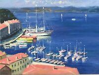 Nino Pippa Oil Painting Portofino ITALY Nautical 16x12 COA Impressionist