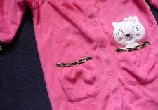 3/6 Months Baby Pussy Cat .. Pink & Leopard print trim Sleepsuit 100% Cotton NEW