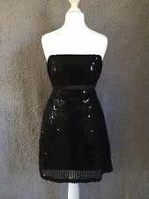 Womens mini dress long top black size 12 strapless sequin occasion party wear