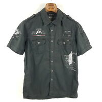 Camp David Hemd Herren M Grau Regular Fit Kurzarm Freizeithemd Militär Look
