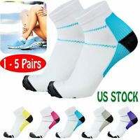 1-5 Pairs Compression Socks Plantar Fasciitis Arch Ankle Run Support Men Women