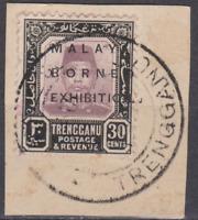 Trengganu 1922 Malaya Borneo Exhibition Used 30c Dull Purple/Black SG54 on Piece