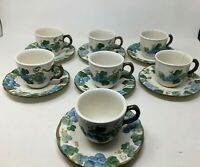 7 Place Setting  Vintage Metlox Poppytrail Sculptured Grapes Cups and Saucers