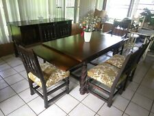 Jacobean Style Dining Room Set Table 6 Chairs Buffet Early