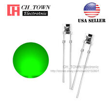 100PCS 5mm Flat Top Water Clear Green Light Wide Angle 120Deg LED Diodes USA