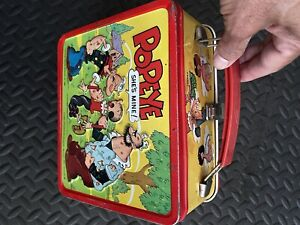 1980 POPEYE Aladdin King Features Metal Lunch Box - No Thermos - VG Condition