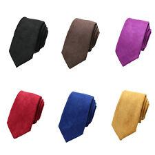 Men Stylish Skinny Velvet Necktie 6cm Solid Color Wedding Business Formal Tie