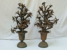 Antique Pair of Iron Urns with Metal Flowers