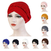 CO_ Women Solid Color Braid Muslim Turban Hat Chemo Cap Bandana Headwrap Splendi