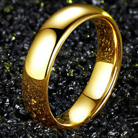 6mm Silver/Gold Titanium Steel Band Men's Women's Wedding Couple Rings Size 5-13