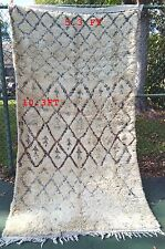 Vintage authentic Beni ourain knotted carpet Rug 100% Handmade 5.3 ft x 10.3 ft