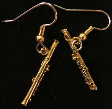 Flute Earrings Flutes 24 karat Gold Plate Music Band Orchestra Symphony Teacher