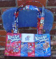 Ku Theme Tote with Jayhawk Logo/Upcycled juice pouches/Hand made