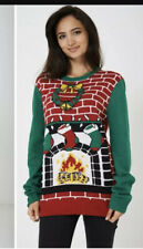 ugly christmas Sweater 'Fireplace' Xmas Jumper Knit Sz XL 16/18 Womens New cosy