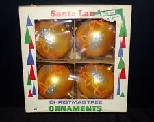 4 VTG 60s LRG GOLD SILVER GLITTER STAR XMAS TREE BALLS SANTA LAND POLAND IN BOX