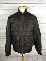 Men's River Island Leather Bomber Jacket - Medium - Brown - Great Condition