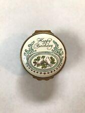 "Vintage Bilston & Battersea Enameled Porcelain ""Happy Birthday"" Box Halcyon Days"