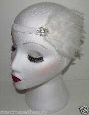 White Great Gatsby Feather Diamante Headpiece Headband 1920s Flapper Vintage h55