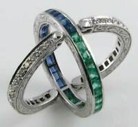 9CT 9K WHITE GOLD SAPPHIRE EMERALD DIAMOND NIGHT  DAY ART DECO RING Size Q 1/2