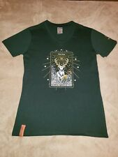 Jagermeister Jager Womens v neck t shirt the stag size Medium gold glittery NEW
