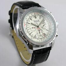 Montre-bracelet multifonction mécanique automatique en cuir pour homme