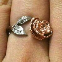 Hand Carved Rose Flower Ring Women Jewelry Gift 14K White Gold Plated