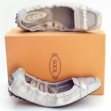 TOD'S New sz 38 - 8 Auth Designer Womens Ballerina Ballet Flats Shoes silver