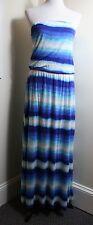 White House Black Market Strapless Dip Dye Blue Striped Maxi Blouson Dress SZ L