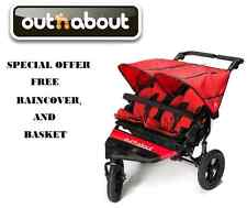Out n About Double Nipper 360 V4 - Red FREE Basket/Raincover
