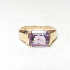 Estate 10K Yellow Gold 2.20 Ct Natural Lilac Purple Amethyst Solitaire Ring