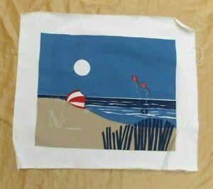 """Vintage Marushka Beach Print on Canvas Kites Kids Signed 22"""" x 18.5"""" Seashore"""