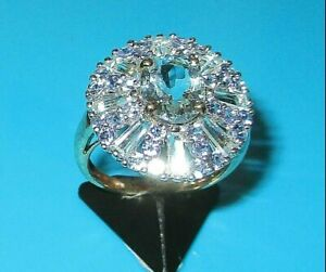 STUNNING  9ct YELLOW GOLD TANZANITE & BLUE TOPAZ CLUSTER COCKTAIL RING SIZE L