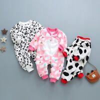 Newborn Baby Girl Boy Cartoon Leopard Dot Romper Jumpsuit Outfits Winter Clothes