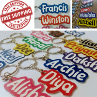 School Bag Name Tag / Key Ring - PERSONALISED ANY SPELLING  - MADE TO ORDER.