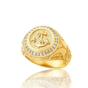 Mens Anchor Ring Pinky Signet Gold Ring Mens Signet Ring Man Pinky Silver Ring