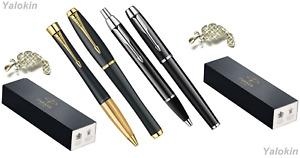 Black w Gold & Black w Chrome Urban IM Ballpoint / Rollerball Luxury Pens Set